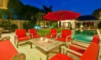 Pool Side Seating Area at Night - Villa Darma - Seminyak, Bali