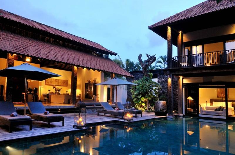 Pool Side Loungers at Night - Villa De Suma - Seminyak, Bali