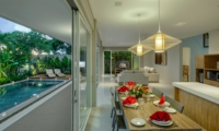 Living and Dining Area with Pool View - Villa Delmar - Canggu, Bali