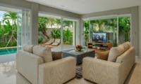 Living Area with Pool View - Villa Delmar - Canggu, Bali