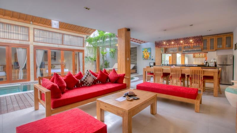 Living Area with Pool View - Villa Denoya - Seminyak, Bali