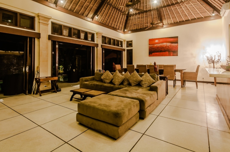 Living and Dining Area at Night - Villa Gembira - Seminyak, Bali