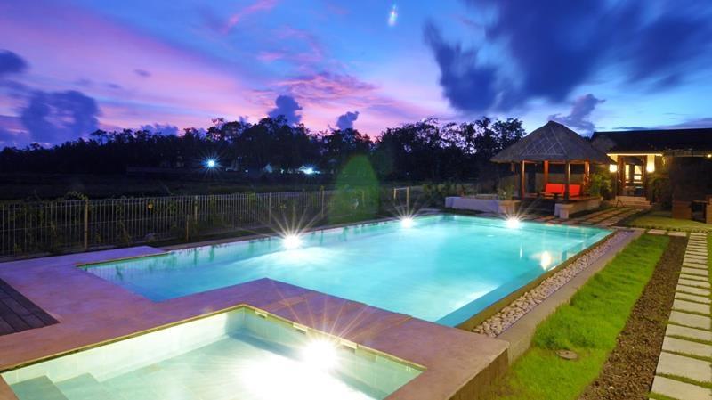Swimming Pool at Night - Villa Griya Aditi - Ubud, Bali
