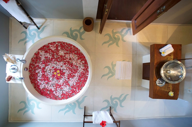 Romantic Bathtub Set Up Top View - Villa Hansa - Canggu, Bali