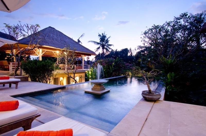 Pool Side Loungers at Night - Villa Inti - Canggu, Bali