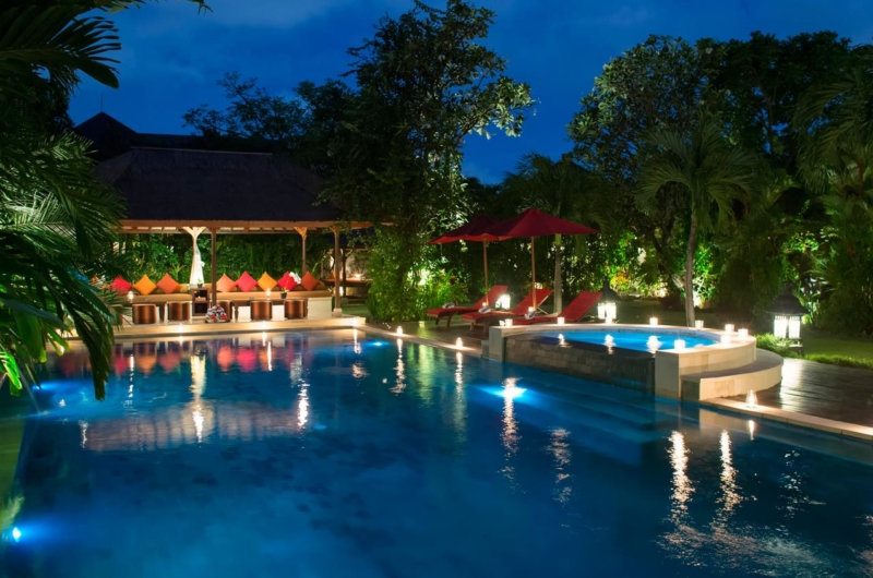 Gardens and Pool at Night - Villa Kalimaya One - Seminyak, Bali