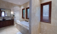 His and Hers Bathroom with Bathtub - Villa Kalimaya Two - Seminyak, Bali