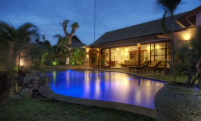 Gardens and Pool at Night - Villa Kalimaya Two - Seminyak, Bali