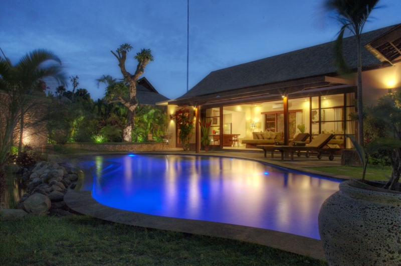 Gardens and Pool at Night - Villa Kalimaya Two - Seminyak, Bali