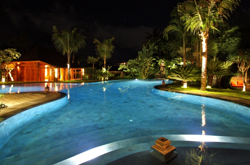 Gardens and Pool at Night - Villa Kalua - Umalas, Bali