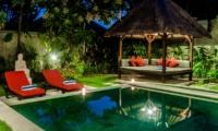 Reclining Sun Loungers at Night - Villa Kebun - Seminyak, Bali