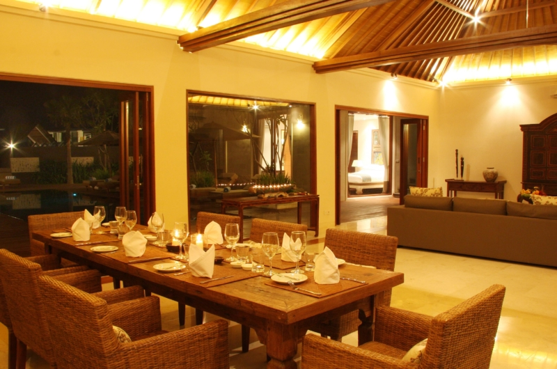 Dining Area at Night - Villa Kipi - Batubelig, Bali