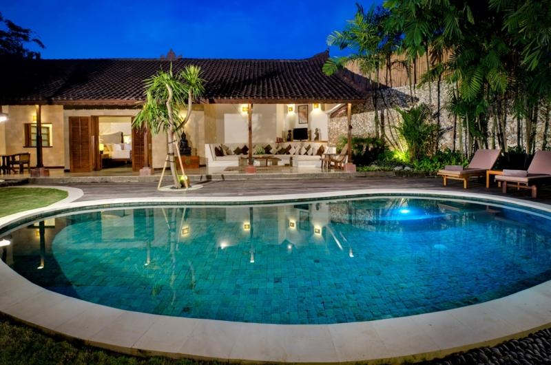 Swimming Pool at Night - Villa Kubu 4 - Seminyak, Bali
