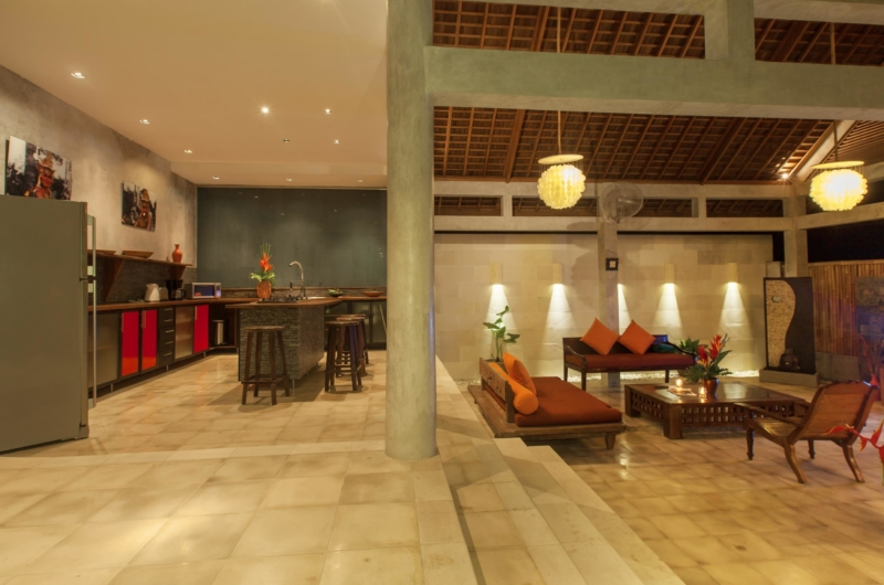 Kitchen Area at Night - Villa Liang - Batubelig, Bali