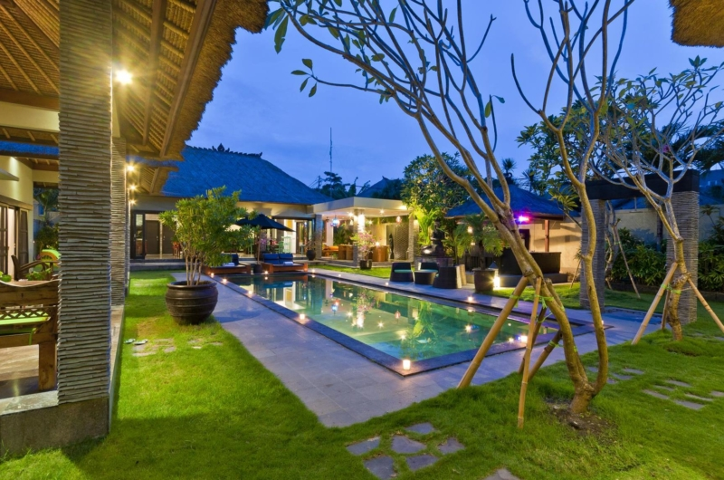Gardens and Pool at Night - Villa Mahkota - Seminyak, Bali