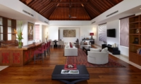 Indoor Living Area with Wooden Floor - Villa Malaathina - Umalas, Bali