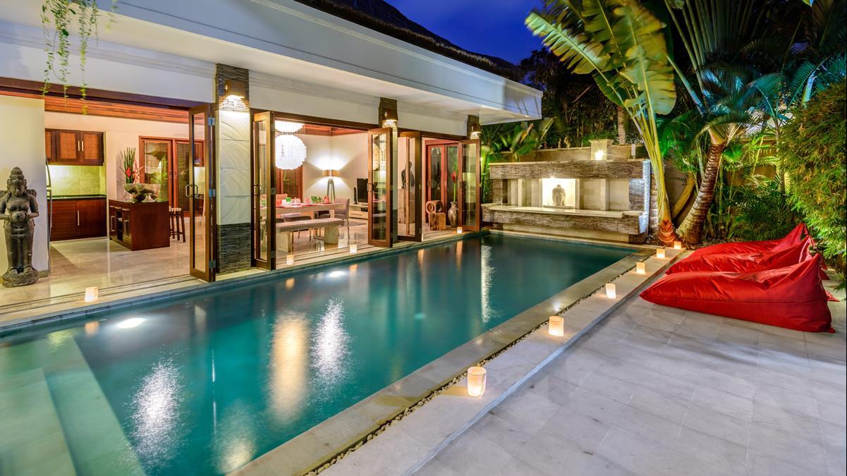 Pool at Night - Villa Menari Residence - Seminyak, Bali