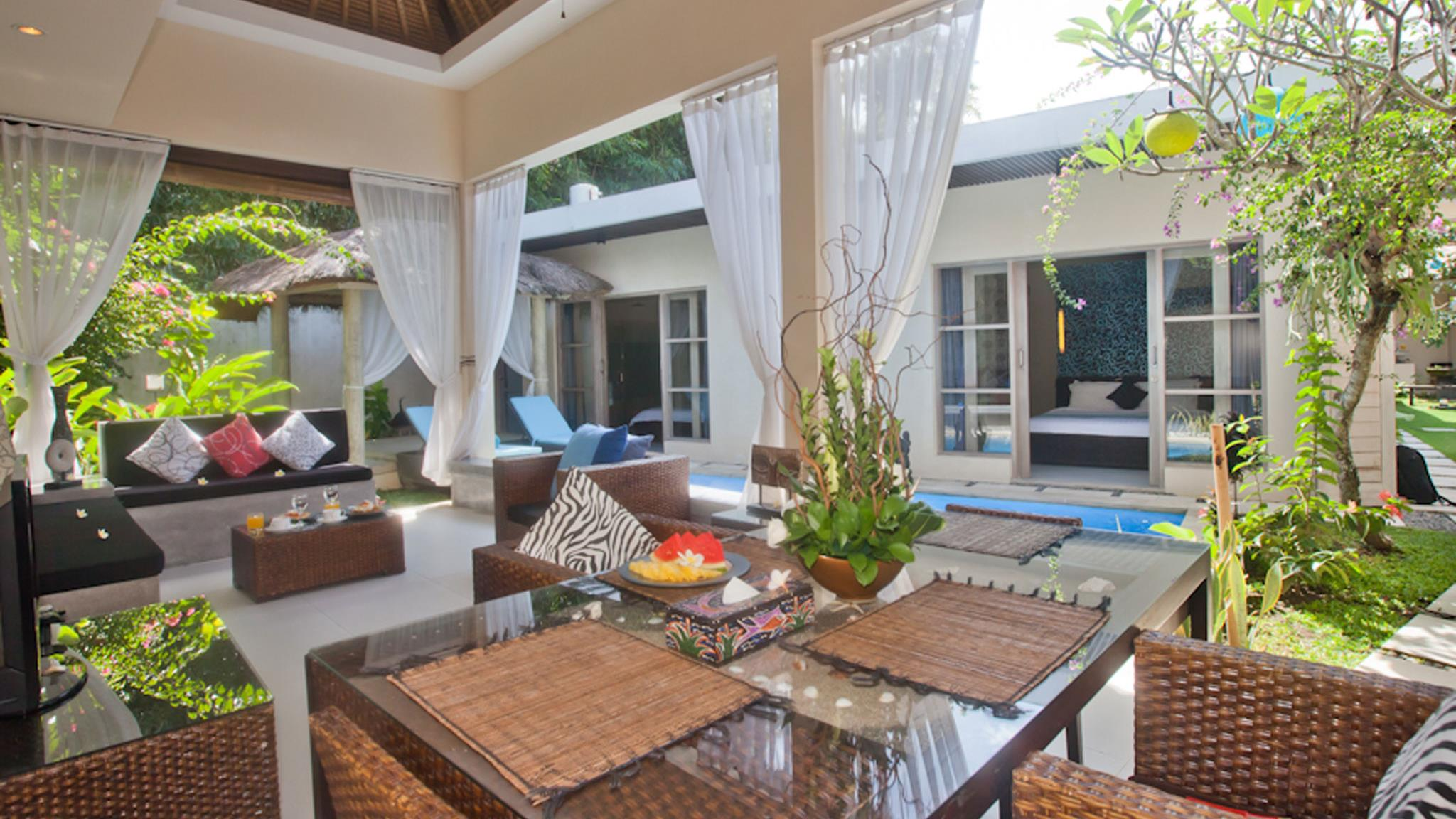 Living and Dining Area with View - Villa Mia - Canggu, Bali