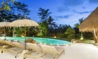 Gardens and Pool at Night - Villa Omah Padi - Ubud, Bali
