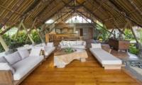 Living Area with Wooden Floor - Villa Omah Padi - Ubud, Bali