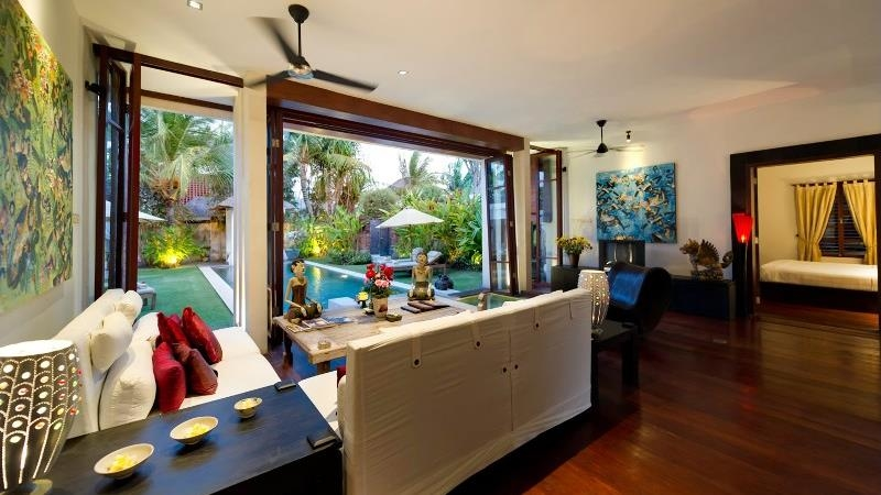 Living Area with Pool View - Villa Raj - Sanur, Bali