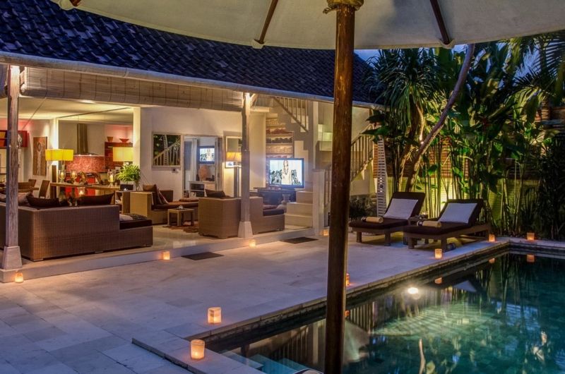 Outdoor Area at Night - Villa Rama Sita - Seminyak, Bali