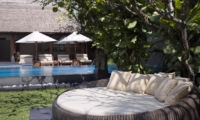 Pool Side Seating Area with Cushions - Villa Ramadewa - Seminyak, Bali