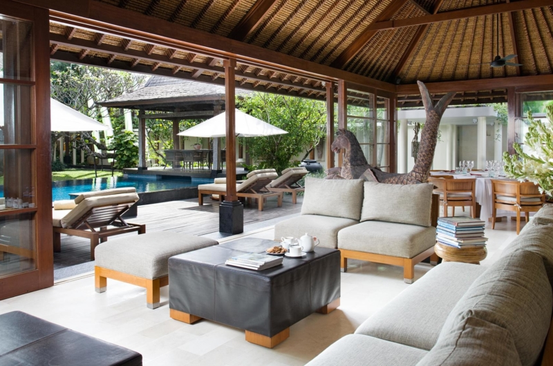 Living Area with Pool View - Villa Ramadewa - Seminyak, Bali