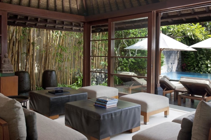Indoor Living Area with Pool View - Villa Ramadewa - Seminyak, Bali