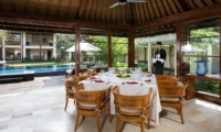 Indoor Dining Area with Pool View - Villa Ramadewa - Seminyak, Bali