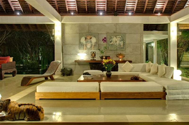Living Area at Night - Villa Samadhana - Sanur, Bali