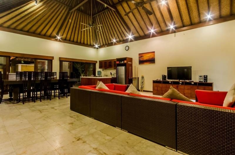 Living and Dining Area with TV - Villa Santi - Seminyak, Bali