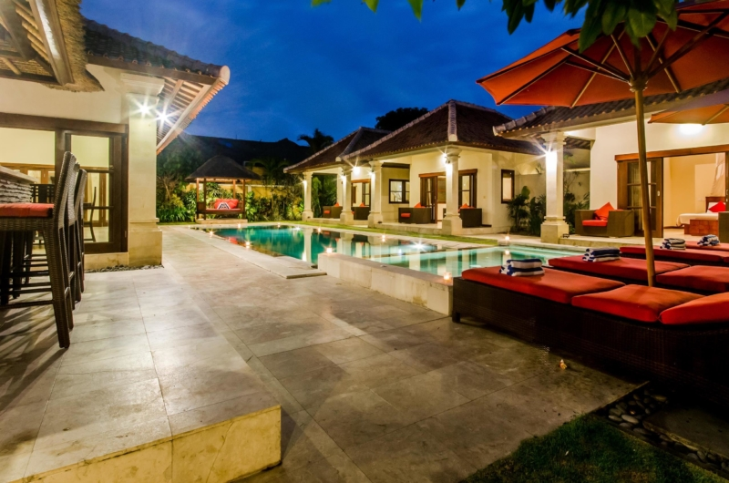 Pool Side Loungers at Night - Villa Santi - Seminyak, Bali