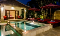 Pool Side Jacuzzi at Night - Villa Santi - Seminyak, Bali