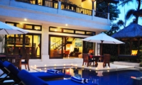 Pool Side Loungers at Night - Villa Sayang - Seminyak, Bali