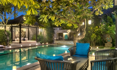 Pool Side Seating Area at Night - Villa Senang - Batubelig, Bali