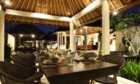Indoor Dining Area at Night - Villa Sesari - Seminyak, Bali