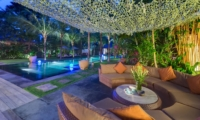 Outdoor Seating Area at Night - Villa Shambala - Seminyak, Bali