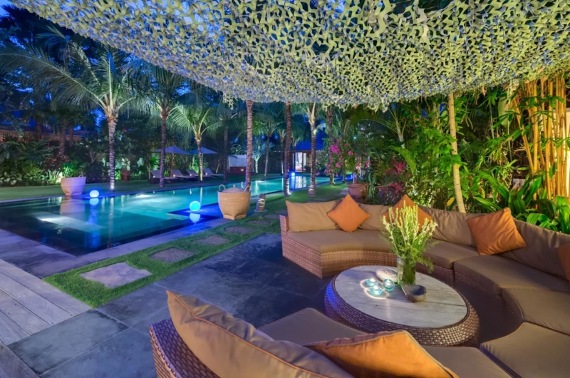 Outdoor Seating Area at Night - Villa Shambala - Seminyak, Bali
