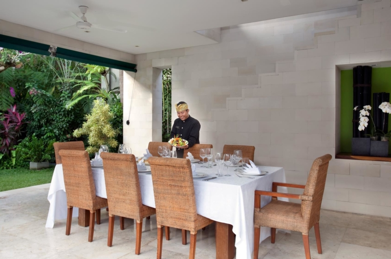 Dining Area with Staff - Villa Shinta Dewi - Seminyak, Bali