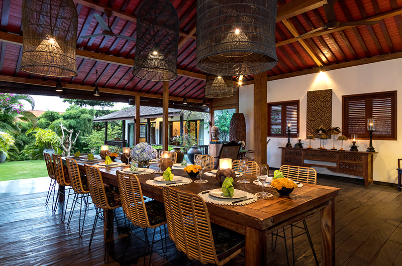 Dining Area with Wooden Floor - Villa Theo - Umalas, Bali