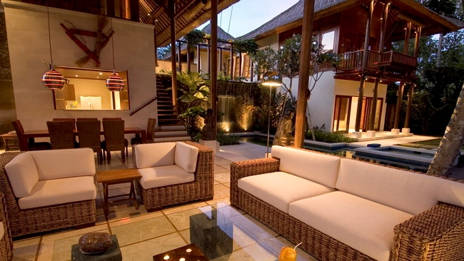 Living Area at Night - Villa Vajra - Ubud, Bali