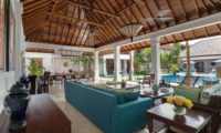 Living and Dining Area with Pool View - Villa Windu Asri - Seminyak, Bali
