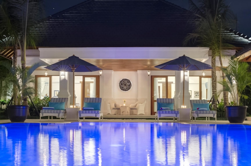 Reclining Sun Loungers at Night - Villa Windu Asri - Seminyak, Bali
