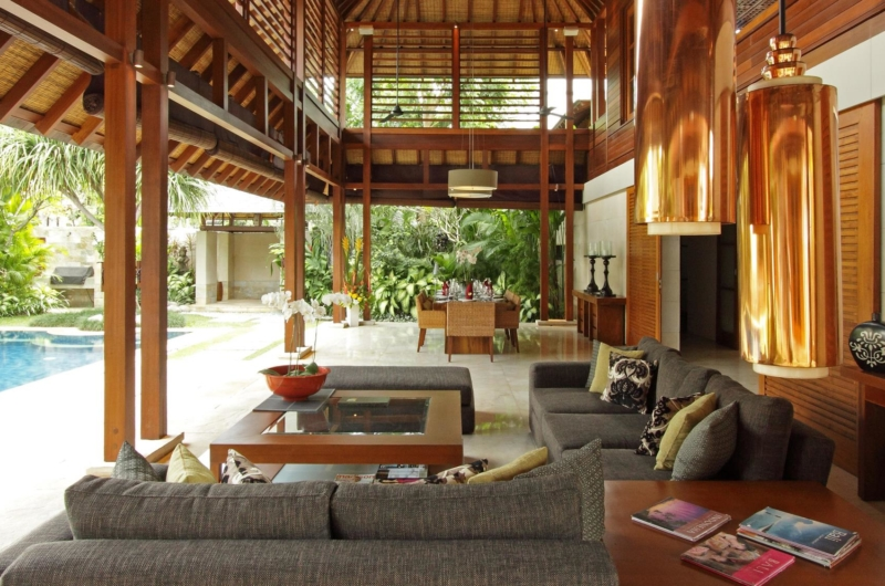 Living and Dining Area with View - Villa Windu Sari - Seminyak, Bali
