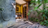 Semi Open Shower with Wooden Floor - Villa Yoga - Seminyak, Bali