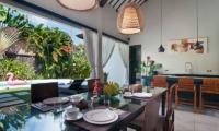 Kitchen and Dining Area with Pool View - Villa Alice Satu - Seminyak, Bali