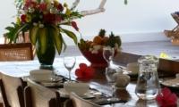 Dining Area with Crockery - Villa Blanca - Candidasa, Bali
