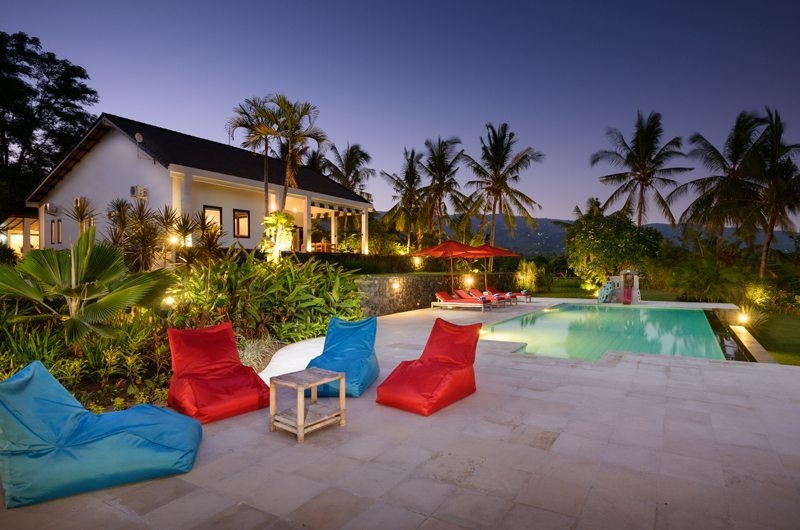 Pool Side Seating Area at Night - Villa Bloom Bali - North Bali, Bali