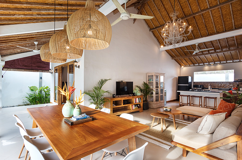 Living, Kitchen and Dining Area - Villa Crystal - Seminyak, Bali